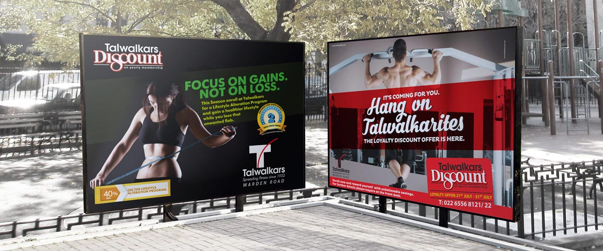 talwalkars gym ad, fitness marketing,  branding, advertising agency, creative ads, brij design studio, graphic design agency mumbai, outdoor advertising, brand development, communication, warden road branch, august scheme ads, flyer design, board design, brand consultant, indian, india, promotional ads, fitness gym promotion, weight loss ads, membership promotion ads